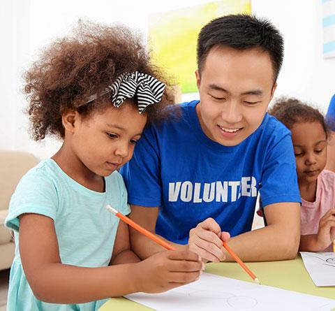Volunteer with Small Children